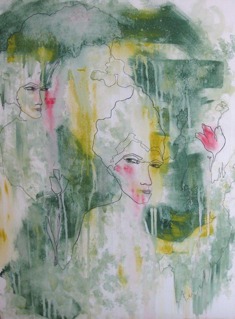 """Simona Ledl """"Following the white rabbit"""", Acryl/Tusche auf Leinwand, 90 × 120 cm, 2018"""